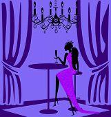 purple lady in a bar