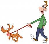 image of stroll  - Man walking dog - JPG