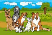 Ilustración de dibujos animados lindo grupo de perros de pura raza