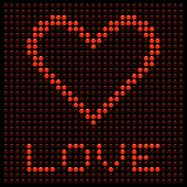 Red Love Heart On A Led Board