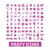 party, birthday, celebration, event icons, signs set, vector