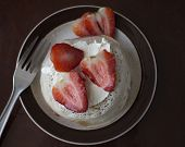 Crumpets With Cream Cheese And Sliced Strawberries