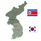 North and South Korea vector map with flags isolated on white background.