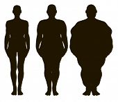 Vector women silhouettes from thin to fat.