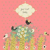 Stylish vintage floral background with birds and textbox. Ideal for bright wedding invitation. Vecto