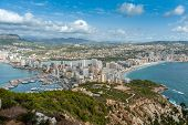 High view of Calpe, in Alicante, Spain