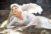 Beautiful Angel Woman Lies In Theatre
