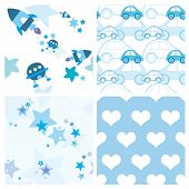 Blue baby seamless patterns