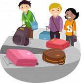 Illustration of People waiting for their Baggage on the Airport Luggage Carousel
