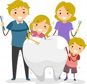 Illustration of Stickman Family holding a Toothbrush cleaning a Big Tooth