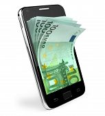 Smart phone with money concept. Euro