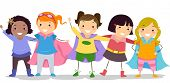 Illustration of Little Girls in their Superhero Costume