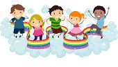 foto of playmate  - Illustration of Kids playing on the Clouds with a Rainbow Strip - JPG