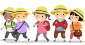 stock photo of stickman  - Illustration of Stickman School Kids wearing Uniform Hat - JPG