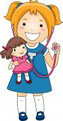 stock photo of doll  - Illustration of a Little Girl playing Doctor with a Stethoscope with a Rad Doll patient - JPG