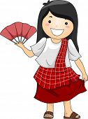 Illustration of a Happy Little Girl wearing Traditional Philippine Costume Baro't Saya with Abaniko