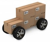 Cardboard boxes, delivery concept