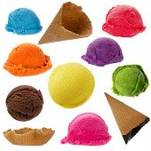 Ice cream collection on white background