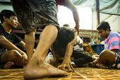 NAKHON CHAI, THAILAND - MAR 23: Unidentified participant Master Day Ceremony able Khong Khuen - spir