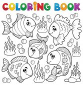 Coloring book various fish theme 1 - eps10 vector illustration.