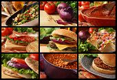 Colorful food collage includes veggie stir fry, cheeseburger, taco salad, blt sandwich, turkey sandw