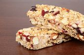 macro fruit nut granola bar shallow DOF