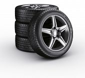 foto of four-wheel  - 3d rendering of a 4 car tires on a white background - JPG