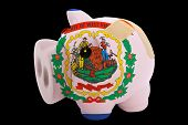 Bankrupt Piggy Rich Bank In Colors Of Flag Of American State Of West Virginia    Closed With Bandage