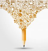 creative splash pencil with school icons set illustration. concept learning. the study of science. t