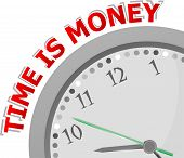 Time Is Money, Isolated Clock With Money Time Icon, art illustration