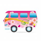 image of beetle car  - Colorful piece van illustration Technology and Ecological Transport - JPG