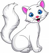 Cute white cat cartoon sitting