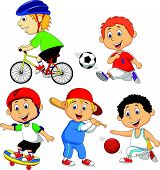 Funny boy cartoon character doing sport