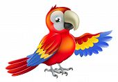 image of green-winged macaw  - A red macaw parrot pointing or showing something with his wing - JPG