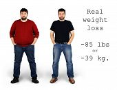 stock photo of skinny fat  - Real before and after shots of 85 pounds or 39 kilos weight loss by a tall middle aged bearded white man great for health and fitness concept - JPG