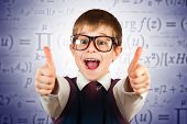 small kid in glasses on the formulas background