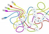 3d graphic of a happy like symbol nodes in network cable chaos