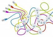 email icon nodes in network cable chaos