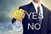 Businessman With Smiling Faces - Yes Or No