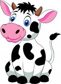 image of moo-cow  - Vector illustration of Cute cow cartoon sitting - JPG
