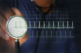 picture of beating-heart  - stethoscope with heart beat - JPG