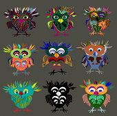 Set (9 pieces) of Cute Owl (on a white background), cartoon drawing, cute illustration for children,