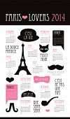 Fun Paris lovers icon illustration film noir theme calendar 2014 template in vector