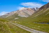 Country road in high Tien Shan mountains