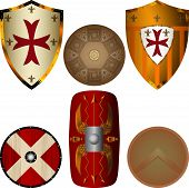 stock photo of templar  - shields from the Middle Ages who used different armies - JPG