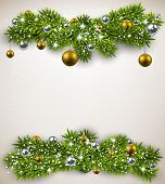 Detailed frame with fir bundles and golden balls. Christmas background. Vector illustration.