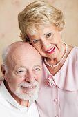 Closeup portrait of a beautiful senior couple in love.