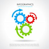 pic of gear wheels  - Process chat design with color gear wheels - JPG