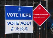 Signs at the voting site in New York