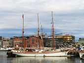 Tall ship in the harbor in Oslo